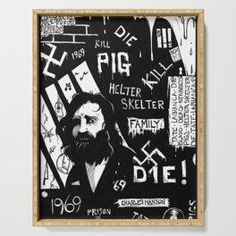 Serial Killer 3: Manson (b&w) Serving Tray