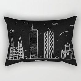 Manila Minimal Nightscape / Skyline Drawing Rectangular Pillow