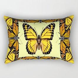YELLOW & ORANGE MONARCH BUTTERFLIES PATTERNED ART Rectangular Pillow
