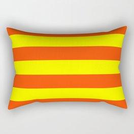 Bright Neon Orange and Yellow Horizontal Cabana Tent Stripes Rectangular Pillow