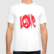 more love White Mens Fitted Tee MEDIUM