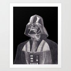 Darth Vader [Grayscale on Black] Pencil Art Print