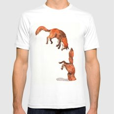 Jumping Red Fox Mens Fitted Tee MEDIUM White