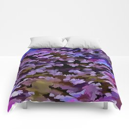 Foliage Abstract In Blue, Pink and Sienna Comforters