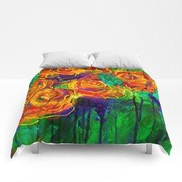 Vibrant Orange Flowers Comforters