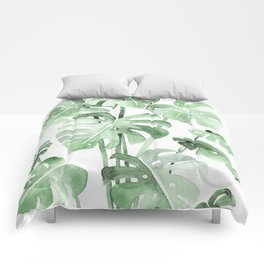 Delicate Monstera Green #society6 Comforters