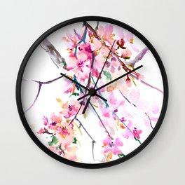 Cherry Blossom pink floral spring design cherry blossom decor Wall Clock