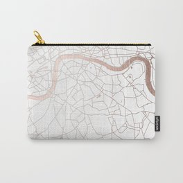 White on Rosegold London Street Map Carry-All Pouch