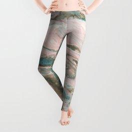 Fluid Art Acrylic Painting, Pour 20, Light Pink, Blue Gray & White Blended Color Leggings