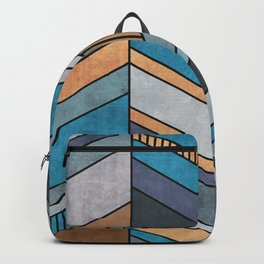 Colorful Concrete Chevron Pattern - Blue, Grey, Brown Backpack