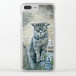 Cat on a Fence Clear iPhone Case