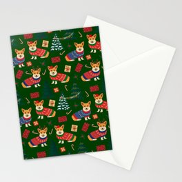 Merry Corgmess- Corgi Celebrate Christmas 2 - Xmas Tree Green Stationery Cards
