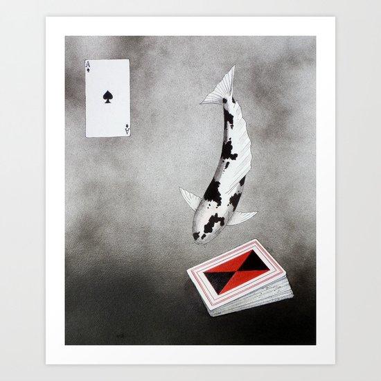 Japanese Koi Bekko Ace of spades. Art Print