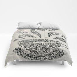 But first, Tea - tea coffee lover zentangle Comforters