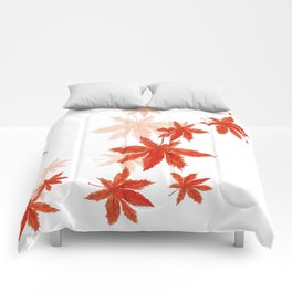 Falling red maple leaves watercolor painting Comforters