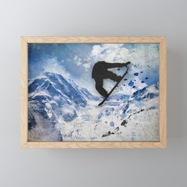 Snowboarder In Flight Framed Mini Art Print
