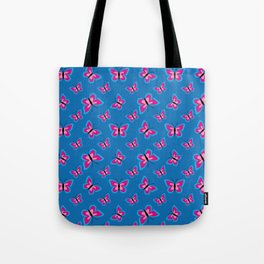 Blue Pink Butterfly Pattern - Blue Background Tote Bag
