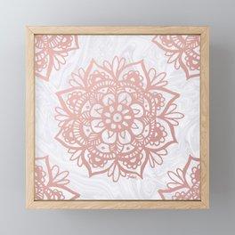 Rose Gold Mandalas on Marble Framed Mini Art Print