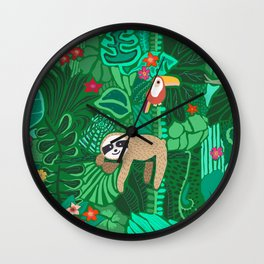 Sloths in the Emerald Jungle Pattern Wall Clock