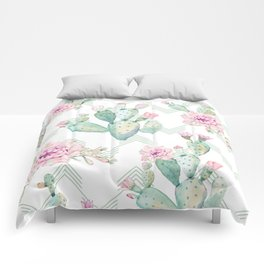 Cactus Rose Deconstructed Chevron Comforters