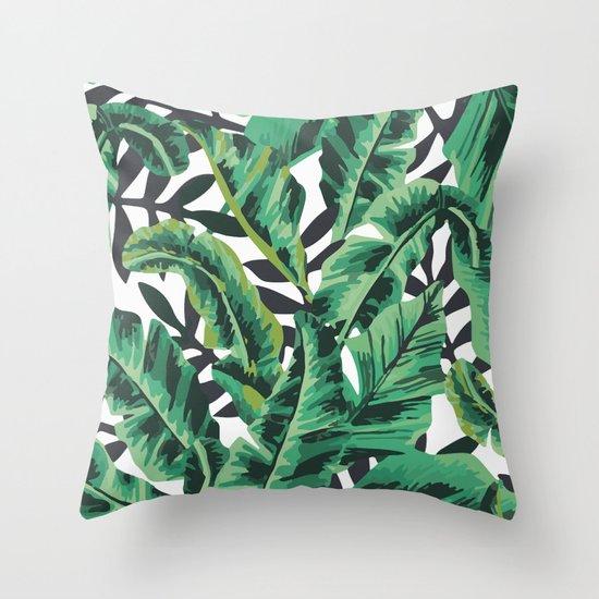 Tropical Glam Banana Leaf Print Throw Pillow