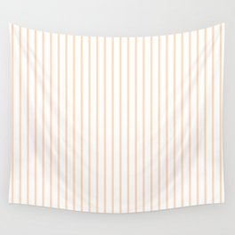Soft Peach Pinstripe on White Wall Tapestry