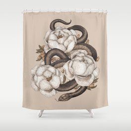 Snake and Peonies Shower Curtain