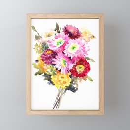 Flowers, Pink Red Yellow Floral design art Framed Mini Art Print