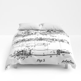 Barber Hair Clippers Patent - Barber Shop Art - Black And White Comforters