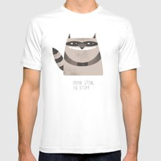 Sneaky Raccoon Mens Fitted Tee LARGE White