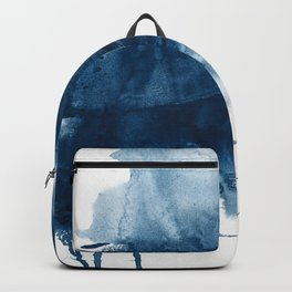 Where does the dance begin? A minimal abstract acrylic painting in blue and white by Alyssa Hamilton Backpack