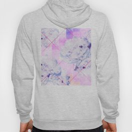Geometric Hot Pink Peonies Flowers Design Hoody