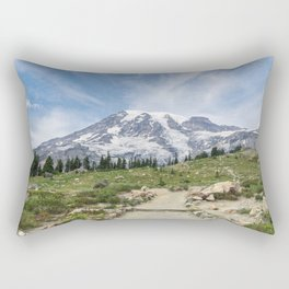 Trail Up Rainier Color Rectangular Pillow