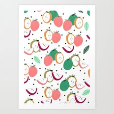 Apple print. illustration, art, print, design, pattern, fruit, food, fun, print design Art Print