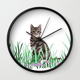 Tiger Cat green Grass with flower Wall Clock