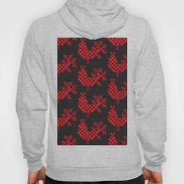 bird peacock Ornament of folk embroidery, red contour on black background Hoody