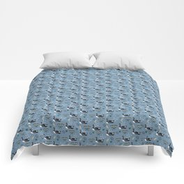 Geese in the rain - blue Comforters