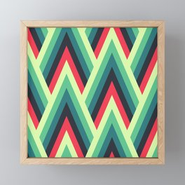 ZIG ZAG yellow, green, blue, black red Shapes Framed Mini Art Print