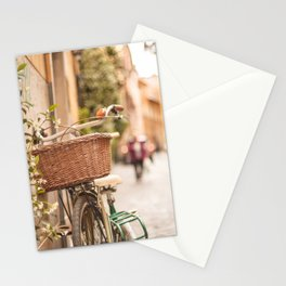 Roma amor - Springtime in Rome, a bicycle in a cobblestone street in the Trastevere Stationery Cards