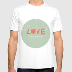 Love is all around Mens Fitted Tee White MEDIUM