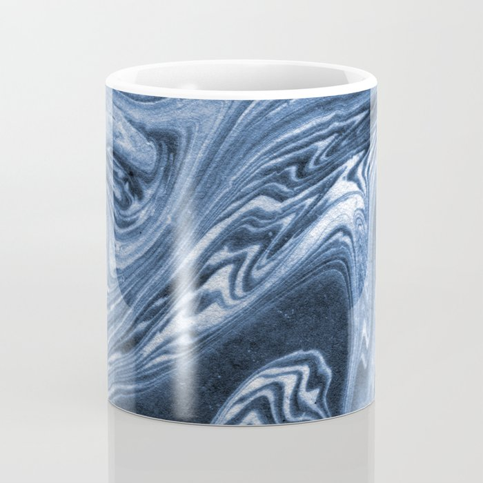 Ren - indigo ink india ink marble pattern texture art print cell phone case with marble blue joy Coffee Mug