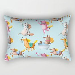 Cute and Whimsical Horse Pattern on Light Blue Rectangular Pillow