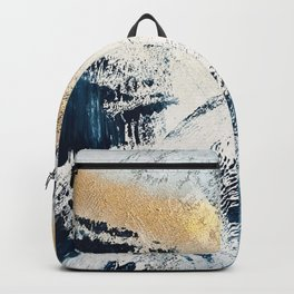 Sunset [1]: a bright, colorful abstract piece in blue, gold, and white by Alyssa Hamilton Art Backpack