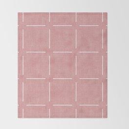 Block Print Simple Squares in Coral Throw Blanket