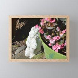 Sun kissed Garden Angel and Begonias Framed Mini Art Print