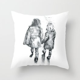 Sisterly Love (Walking Hand-in-Hand) Pencil Drawing Throw Pillow