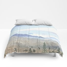 Mountains and firs - Fuji Comforters