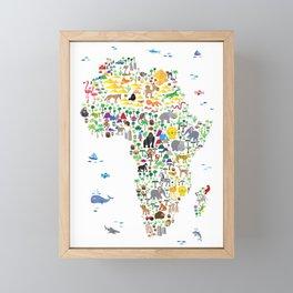 Animal Map of Africa for children and kids Framed Mini Art Print