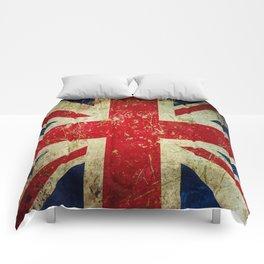 Grunge Scratched Metal Union Jack / British Flag Comforters