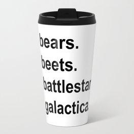 Bears Beets Battlestar Galactica (lowercase) - the Office Travel Mug